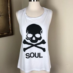 White SoulCycle skull tank